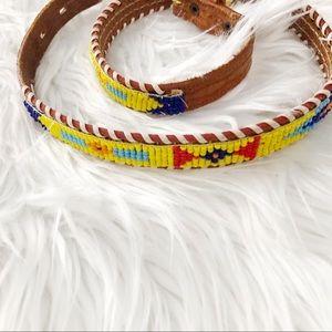Vintage Festival Boho Beaded Leather Belt